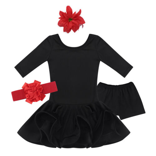 Kids Girls Short Sleeves Latin Rumba Samba Dance Dress Ballroom Dancing Costumes
