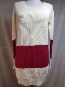 84aef0a8b Free People Tunic Sweater XS White Burgundy Wool Mohair Blend Long ...