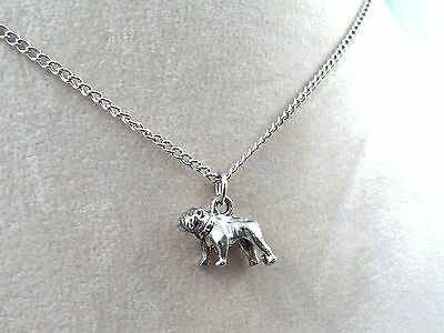 Pewter Bulldog Charm on a Silver Tone Link Chain Necklace   5165