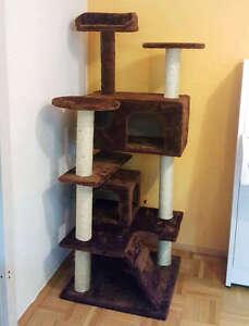 Endpreis-strak-Einfach-bauen-Mittelgrosser-grosser-Kratzbaum-Katzenbaum-Braun130cm