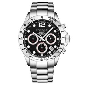 Stuhrling 3961 5 Quartz Chronograph Date Stainless Steel Bracelet Mens Watch