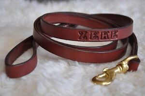 6-by-3-4-034-Custom-Leather-Dog-Leash-Lead-Personalized-FREE-Name-Amish-Made-6-Foot
