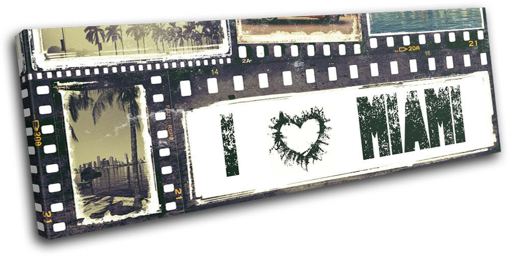 Miami Grunge I Love Heart Photostrip City SINGLE TELA parete parete parete arte foto stampa 9f7ead