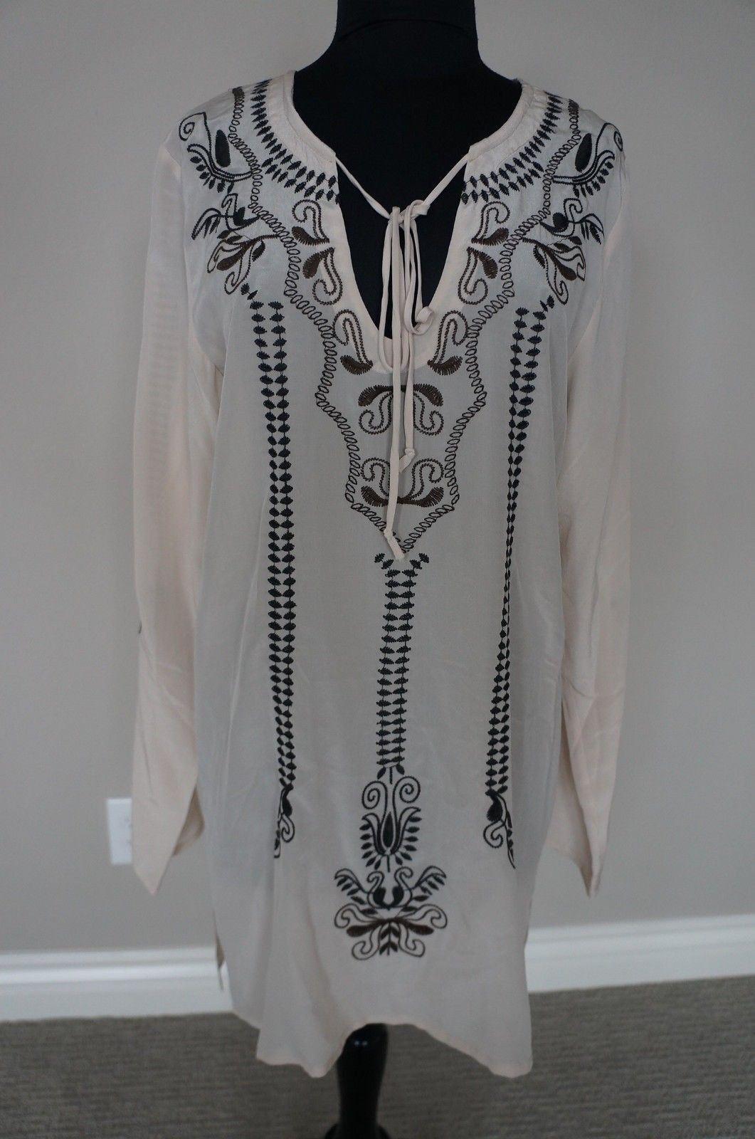 NEW Designer Johnny Was Biya Silk Embroidered Beige Dress Tunic Top GORGEOUS S