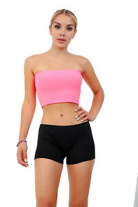 Womens Plain Boob Tube Strapless Bandeau Stretch Vest Bra Crop Top New 8-14