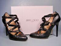 Jimmy Choo Black Leather Cross Strap Leather Jazz Pumps Heels Shoes 39.5/9.5