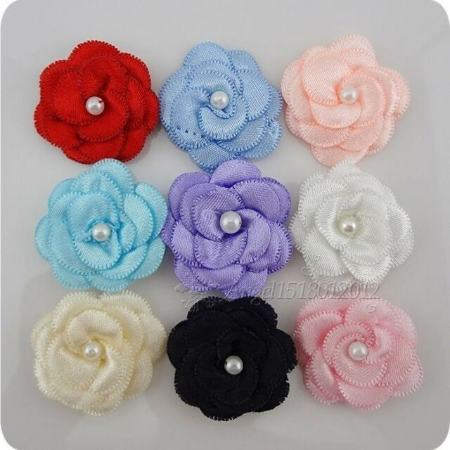 20pcs Satin ribbon bows flower with pearl wedding DIY appliques Upick A006