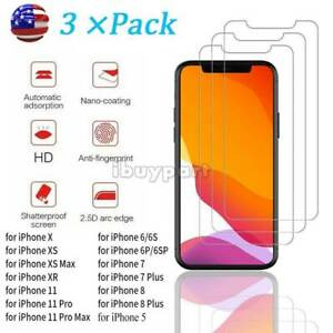For-iPhone-11-Pro-Max-Xs-Max-6-7-Plus-XR-Tempered-GLASS-Screen-Protector-3-Pack