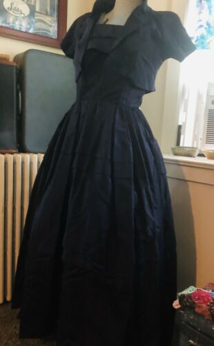 Vtg 50s Couture Frank Starr Strapless Gown CapE Dr