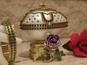 New Home Owner Gift Faberge Music egg Her Home decor 24k GOLD Emerald Handmade