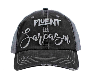 Gray Mesh Back FLUENT in SARCASM in Glitter Print Women/'s Trucker Hat