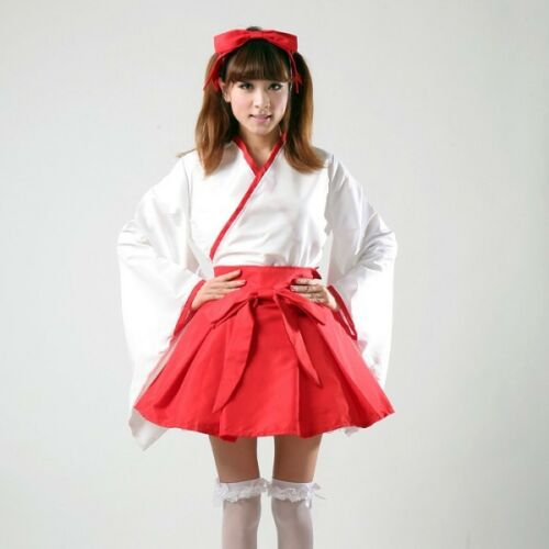 Cosplay Japanese witch Dress anime Maid Outfits Long sleeve kimono costume Red