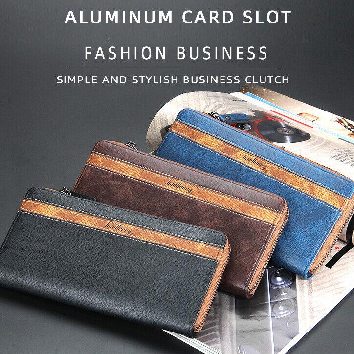 Long Credit Card Holder Wallet Zipper Around Men's Leather Wallets Coin Pocket