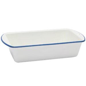 Dishy-Enamelware-Loaf-Pan-in-White-with-Blue-Rim-Enamel-RD2886