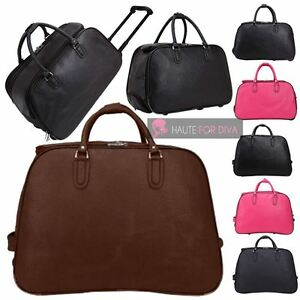 MENS WOMENS PLAIN FAUX LEATHER TRAVEL HOLDALL WHEELED SUITCASE CABIN ... d7a4aa4a98