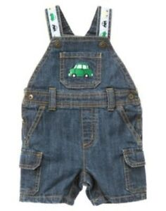 389bd6406 GYMBOREE AUTO BABY DENIM CAR SHORTALL OVERALLS 0 3 6 12 18 24 NWT