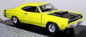 Motormax-SCALA-1-24-1969-Dodge-Coronet-Super-Bee-Giallo-Auto-Modello-Diecast