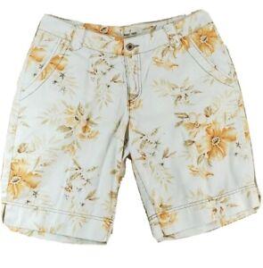 Paradise-Shores-Womens-Size-12-Bermuda-Shorts-White-Floral-Cotton-Large