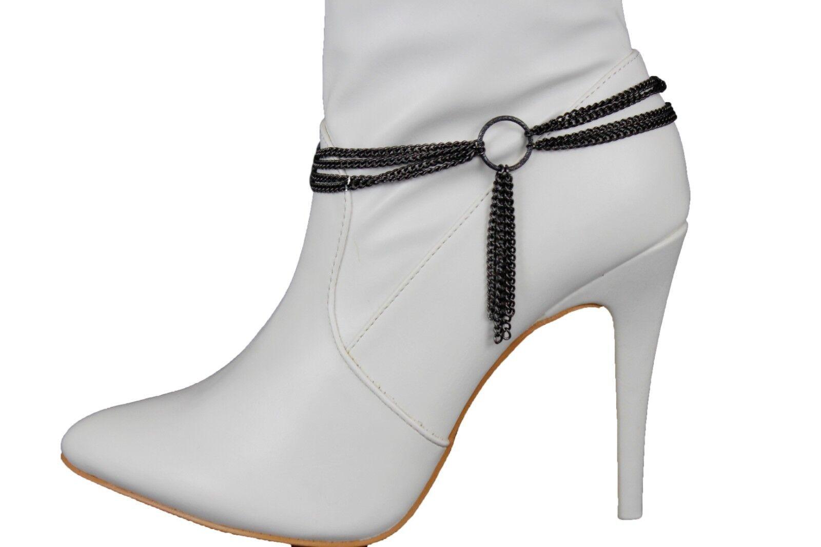 Women Pewter Metal Chain Boot Bracelet Shoe Center Ring Multi Links String Charm