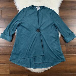 Joseph Ribkoff Women's Sz 12 Teal Blue Asymmetrical Cuffed Sleeve Blazer Jacket