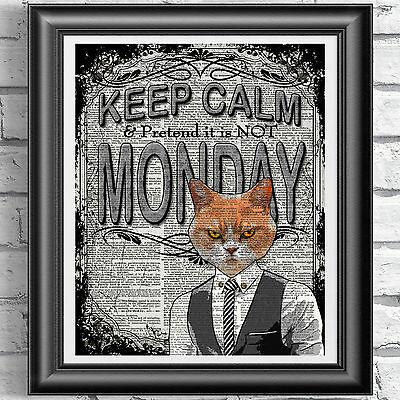 ART PRINT ON ORIGINAL ANTIQUE BOOK PAGE Grumpy Cat Keep Calm Monday Dictionary
