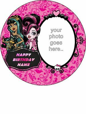 Fine Edible Round 7 5 Monster High Birthday Cake Topper With Own Personalised Birthday Cards Beptaeletsinfo