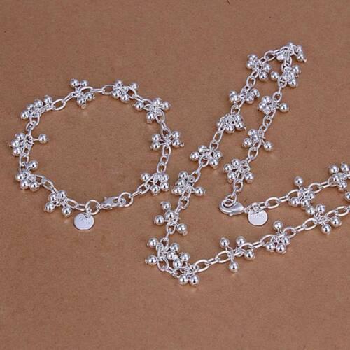 Nouveau 925 Sterling Argent Massif Bright raisin Bracelet Collier Bijoux Sets S212
