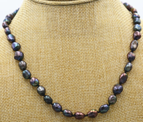 "Hoo RARE 7-8 mm Black Akoya Cultured Pearl Baroque Collier 18/"" AA 18K plaqué or"