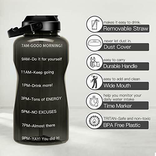 with Time Marker,BPA QuiFit 2 Litre Motivational Straw Water Bottle