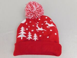 66a9543c23096 Christmas Snowy Lights Reindeer Light-Up Knit Pom Pom Beanie Hat Red ...