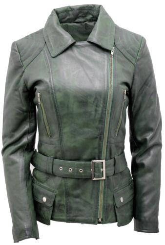 dame en longue cuir verte pour vintage motard Veste CnqtYI