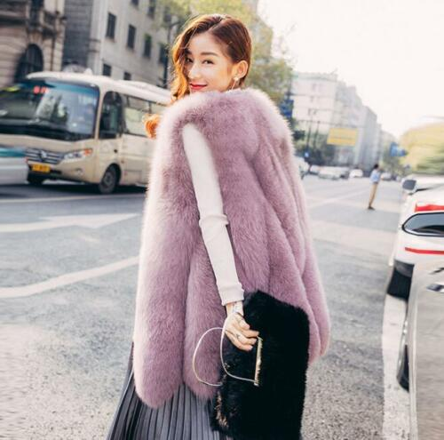 Slim S Long Thick Coat Fur Parkas Vest Warm Real Plus Jacket Ærmeløs Kvinders FUZwYq