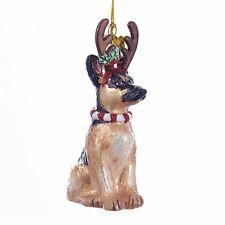 German Shepherd w/Antlers Noble Gems Glass Ornament