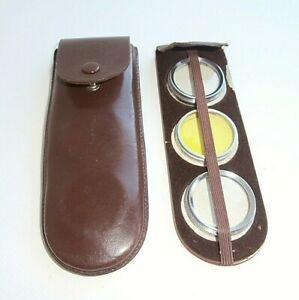 VINTAGE-B-amp-W-FILTER-SET-METAL-FRAME-LEATHER-POUCH-CINE-OR-TWIN-LENS-CAMERA
