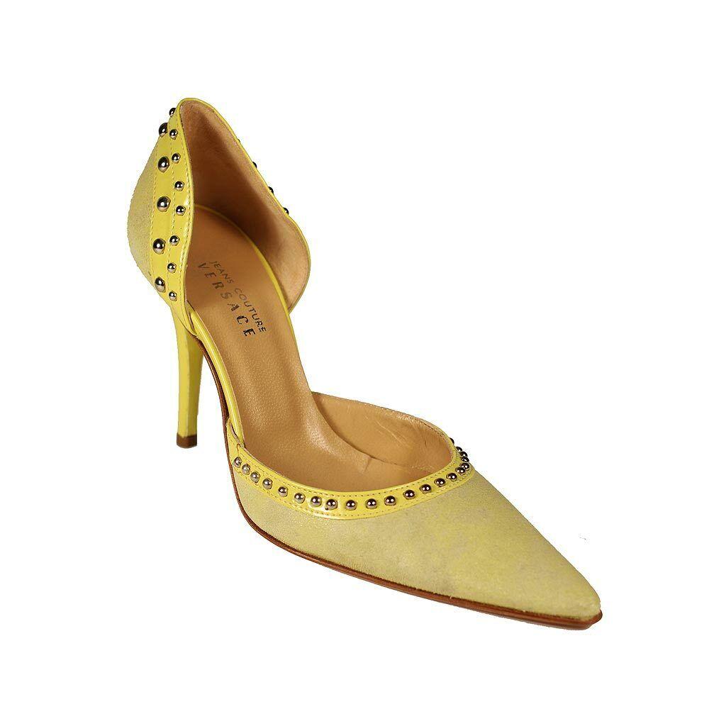(575) Kvinnor designpumpar i Versace Studded mocka & läder - ny - 100% Autentic
