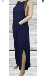 Staring At Stars Urban Outfitters Navy Blue Knit Mesh Open Back Maxi