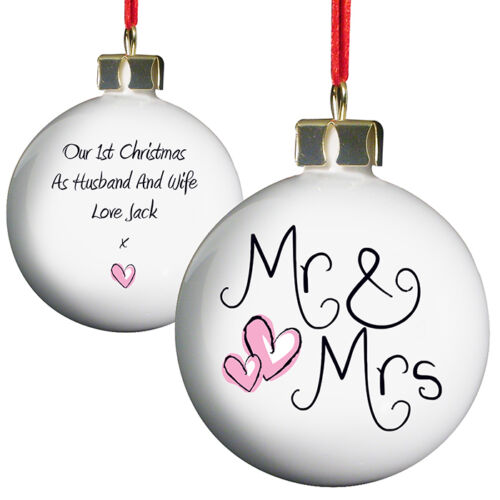 FIRST CHRISTMAS as MR /& MRS 1st Christmas Married Gift Idea Personalised Baubles