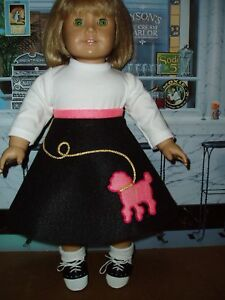 Pink-Black-POODLE-SKIRT-Doll-Clothes-Fits-American-Girl