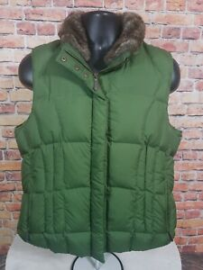 Eddie-Bauer-Goose-Down-Green-Puffer-with-Faux-Fur-Collar-Womens-Size-Large-EUC