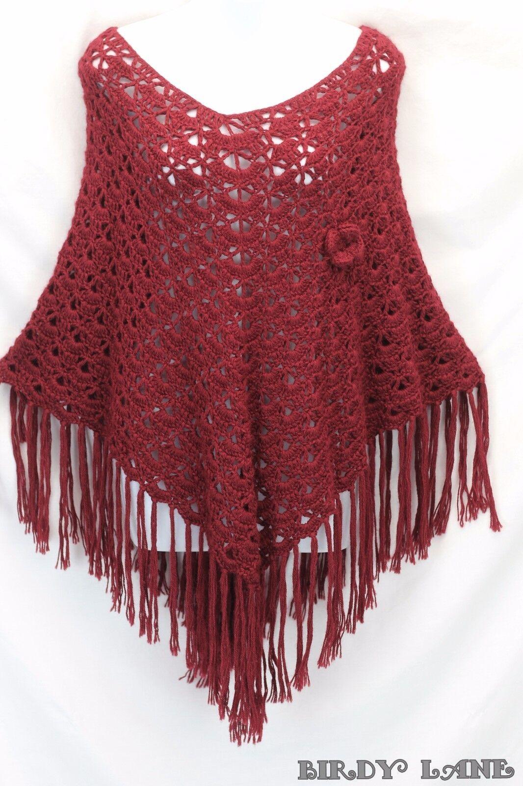 Novica 100% Alpaca Knitted Poncho Dark Red Fringed Fringed Fringed Asymmetrical Hem Boho Artsy 566897