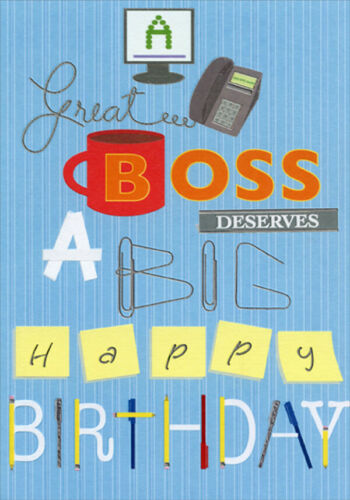 Monitor Phone Coffee Mug Paper Clips Birthday Card for Boss