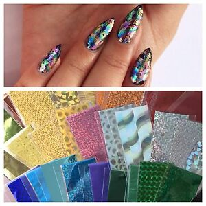 Nail Art Foil Metallic Holographic Solid Colors Designs 13 Inch X