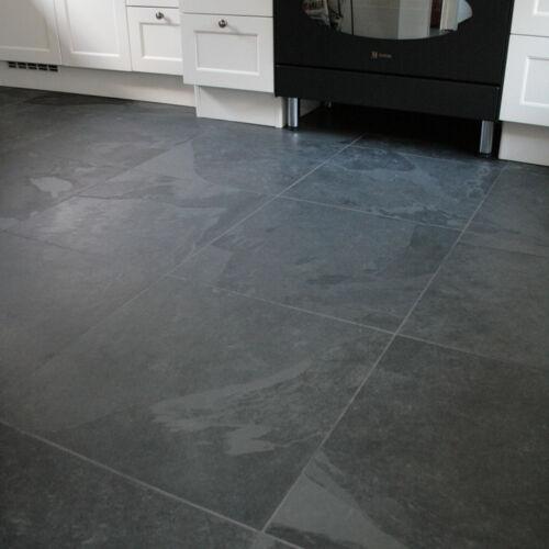 Fliesen Wand Boden Platten Naturstein Schiefer Mustang Black Slate 50 x 50 x 1