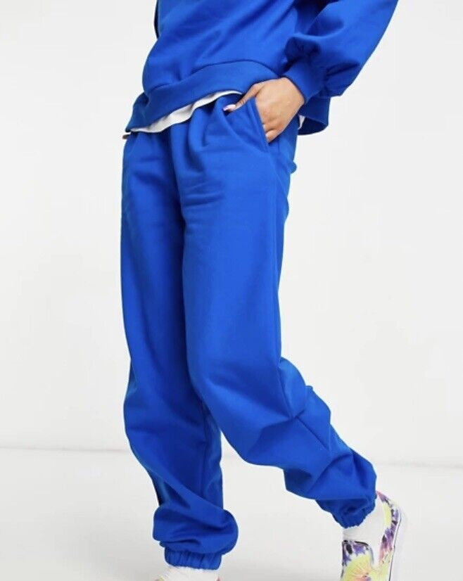 ASOS DESIGN – Oversize-Jogginghose für Damen mit Kontrastkordeln in Blau, 36, 38