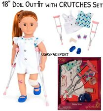 "18"" Doll Outfit CRUTCHES Set Special Needs Injury Bandaids Booboo American Girl"