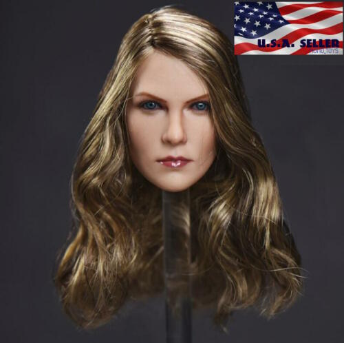 1//6 American Female Head Sculpt Brown Hair For Hot Toys PHICEN Figure ❶USA❶