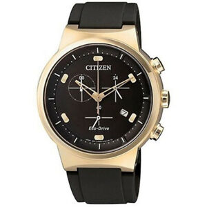 Citizen-Eco-Drive-Men-039-s-Chronograph-World-Time-Gold-Tone-41mm-Watch-AT2403-15E