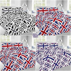 Image Is Loading Union Jack Duvet Cover Set Quilt With Pillow