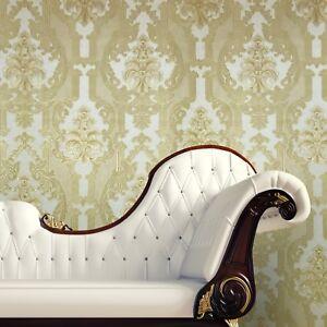 Wallpaper-ivory-yellow-gold-metallic-textured-vintage-victorian-damask-rolls-3D