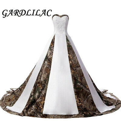 Strapless Lace Camouflage Wedding Dresses for Bride Satin Camo Long Formal  Gowns  eBay